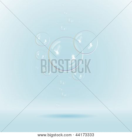 Colorful white soap bubbles isolated