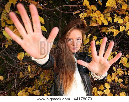 Woman Girl Portret In Autumn Green Leaf Wall
