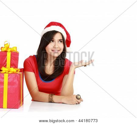 Smiling Woman  Wearing Santa Claus Hat Present