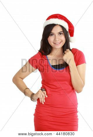 Young Woman In Red Wearing Santa Hat.