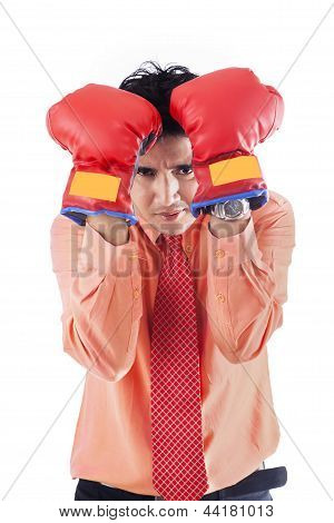 Businessman With Boxing Gloves - Isolated