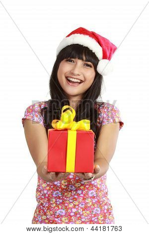 Asian Woman Wearing Santa Claus Cap Hat Smiling And Holding Gift Box