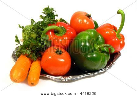 Vegetables On Tray Isolated