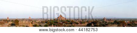 Bagan panorama Myanmar at sunset, ancient temple ruins in asia