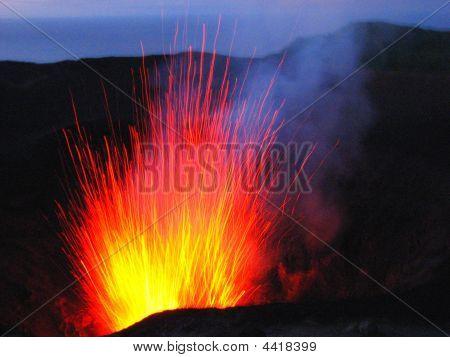 Eruption Of Mt Yasur Volcano, Vanuatu, South Pacific