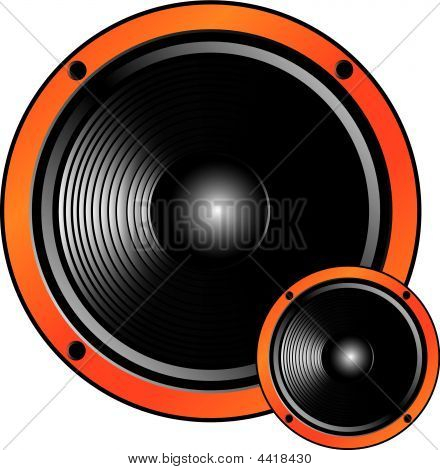 Two Speakers Of  Different Size On A White Background