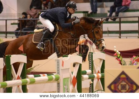 KAPOSVAR, HUNGARY - MARCH 24: Andras Marton jumps with his horse (Dollar) on the Masters Tournament International Jumping Competition, March 24, 2013 in Kaposvar, Hungary