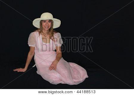 Sunhat Woman in a Pink Dress
