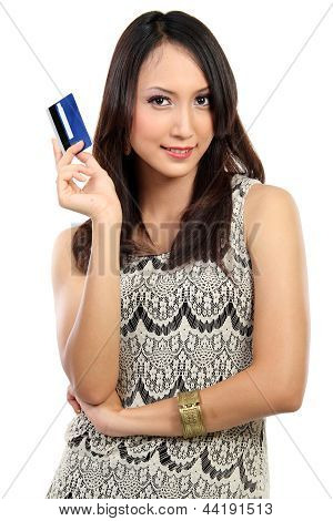 Portrait Of Young Female Holding Credit Card