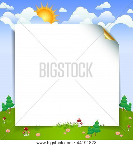 Cloudy Day Landscape With Curly Paper Sheet Template