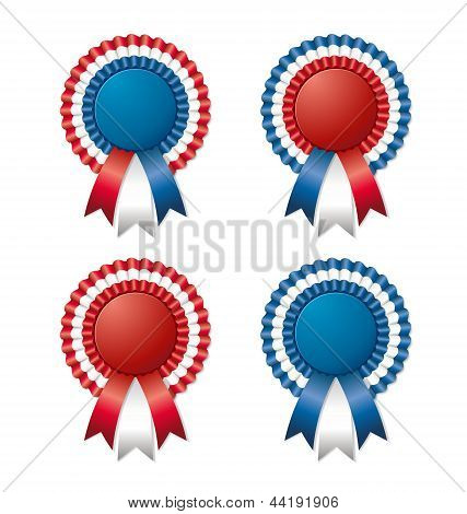 Red White Blue Rosette With Ribbon