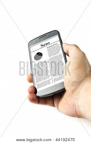 Holding Smart Phone with News