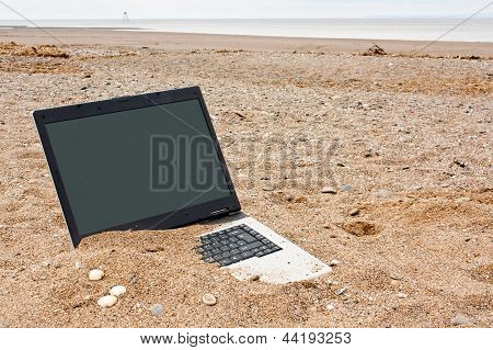 Laptop-PC am Strand
