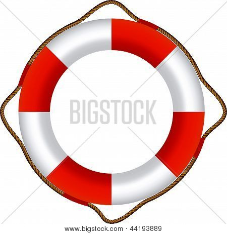 EPS-10 Vector of Red Life Buoy Isolated On White Background
