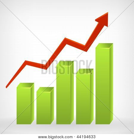 Bar Shiny 3D Graph Positive Arrow