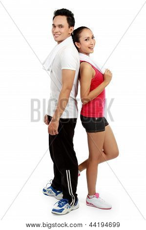 Fitness Smiling Young Man And Woman