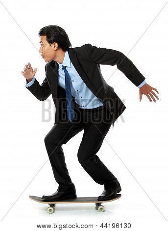 Business Man On Skateboard