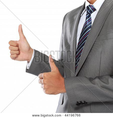 Businessman Hand Showing Thumbs Up Sign
