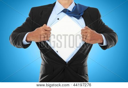 Businessman Showing A Superhero Suit