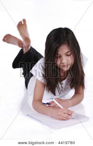 Child Studying Or Writing