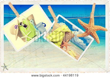 Summer holiday items against a postcard beach scene in vintage style
