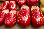 Dutch Traditional Wooden Shoes With Ornament, Clogs, Symbol Of The Netherlands.