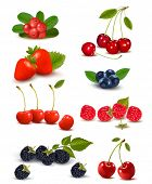 stock photo of berries  - Big group of fresh berries and cherries - JPG