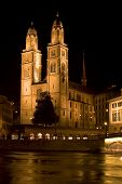 Grossmunster (the Great Cathedral) Is The Most Representative Landmark Of Zurich City, Switzerland. poster