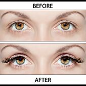 stock photo of eyebrows  - Beautiful eyes with natural eyelashes to and false eyelashes after - JPG
