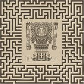 foto of cult  - vector mayan and inca tribal symbols on maze - JPG