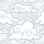 stock photo of fret  - Seamless stylized clouds pattern vector sky background - JPG