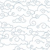 pic of fret  - Seamless stylized clouds pattern vector sky background - JPG