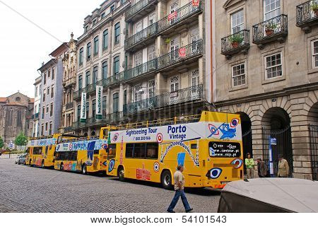 City Sightseeing Tour Bus In Porto, Portugal.