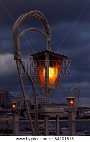 Lantern Over Cloudy Sky