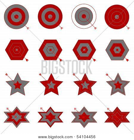Create Target And Arrow Icons On White Background