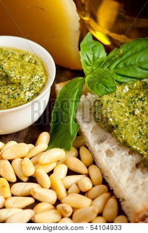 Italian Basil Pesto Bruschetta Ingredients