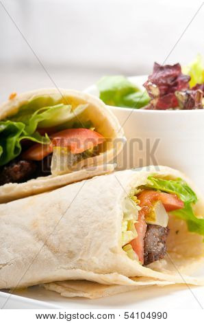 Kafta Shawarma Chicken Pita Wrap