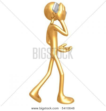 Gold Guy With Cellphone