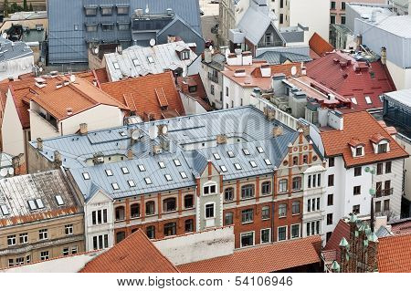 Red And Blue  City Roofs