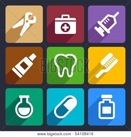 Dental flat icons set 9