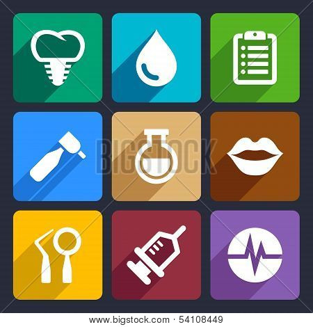 Dental flat icons set