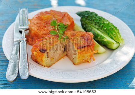 Baked Potato Cakes Stuffed With Minced Meat (kolduny), Belorussian Cuisine