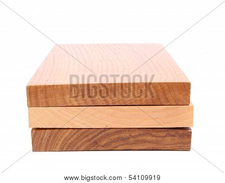 Three wooden plank close-up