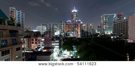 night skyline in Sukhumvit zone - Bangkok