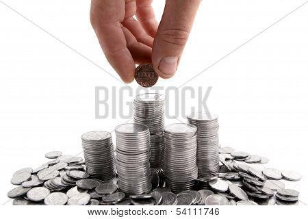 Hand Adding Coins