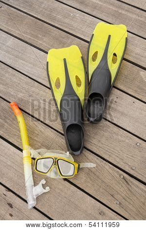 Snorkel Equipment On The Jetty