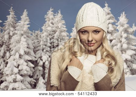 Winter Close-up Portrait Of Blonde Female