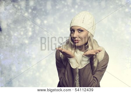 Funny Blonde Girl With Winter Style
