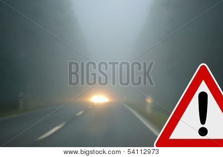 Bad weather driving - foggy road