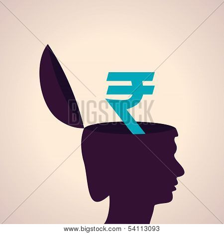 Thinking concept-Human head with rupee symbol